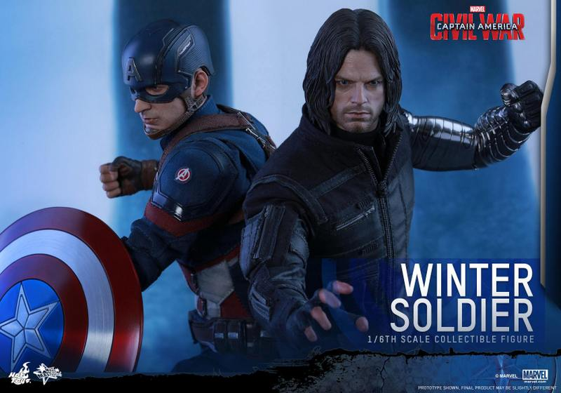 Hot Toys Captain America Civil War Winter Soldier figure -back to back with Cap