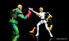 Marvel Legends Sharon Carter figure review - aiming at Baron Von Strucker