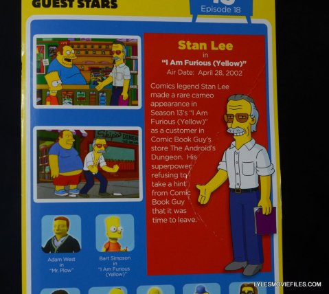 The Simpsons NECA Stan Lee figure -package back bio