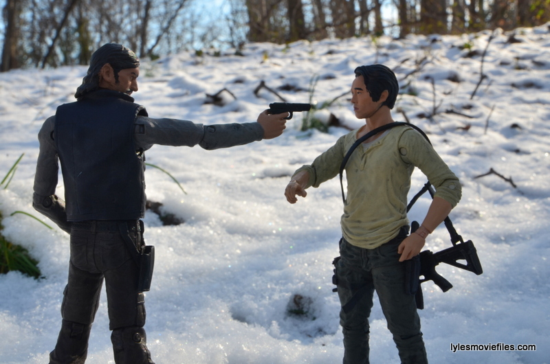 The Walking Dead The Governor McFarlane Toys review -aiming at Glenn Rhee