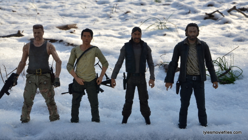 The Walking Dead The Governor McFarlane Toys review -scale with Abraham, Glenn and Rick Grimes