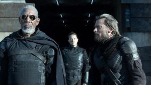 oblivion movie review - morgan freeman, zoe bell and nikolaj coster-waldau