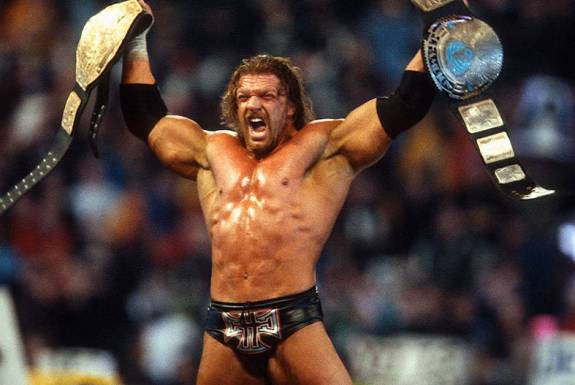 wrestlemania 18 - triple h with both belts_2