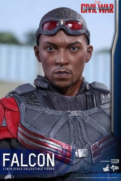 Hot Toys Captain America Civil War Falcon figure -head sculpt close up
