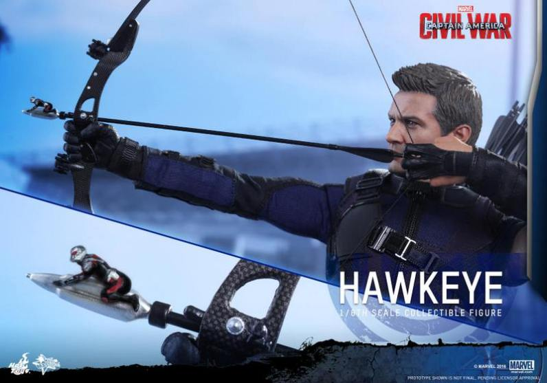 Hot Toys Captain America Civil War Hawkeye figure -with Ant-Man on arrow