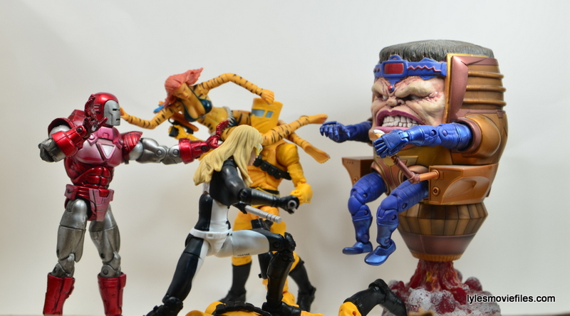 Marvel Legends Mockingbird figure review - with Iron Man and Tigra fighting Modok and AIM