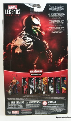 Marvel Legends Venom figure review - package rear