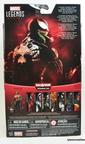 Marvel Legends Venom figure review - package rear