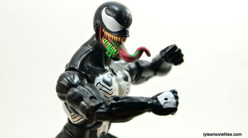 Marvel Legends Venom figure review - tongue head sculpt closeup_1