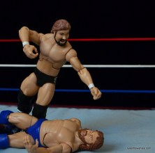 Mattel Ted DiBiase Hall of Fame figure review - fist drop to Hacksaw Jim Duggan