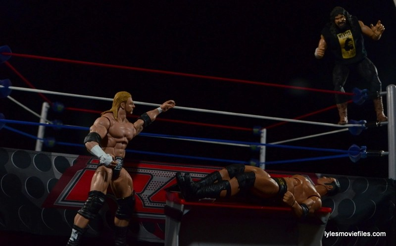 Wrestlemania 2000 - Mick Foley vs The Rock vs The Big Show vs Triple H - Foley gets on top rope on Rock