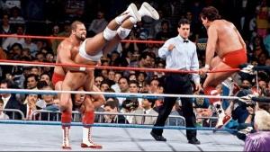 wrestlemania 5 - brainbusters vs strike force