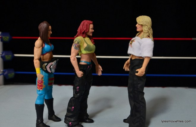 WWE Elite 41 Lita figure -scale with Bayley and Jakks Trish Stratus