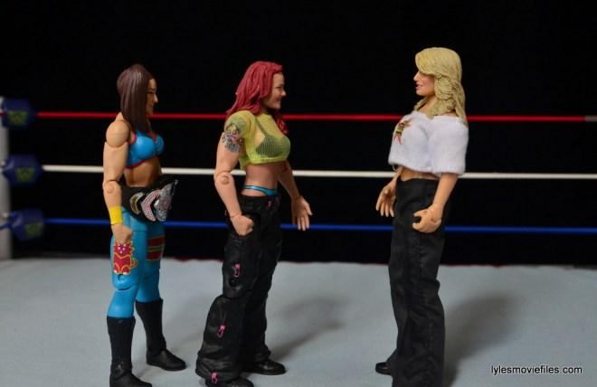 WWE Elite 41 Lita figure -scale with Bayley and Jakks Trish Stratus