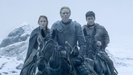 game of thrones book of the stranger review - sansa, brienne and pod-min