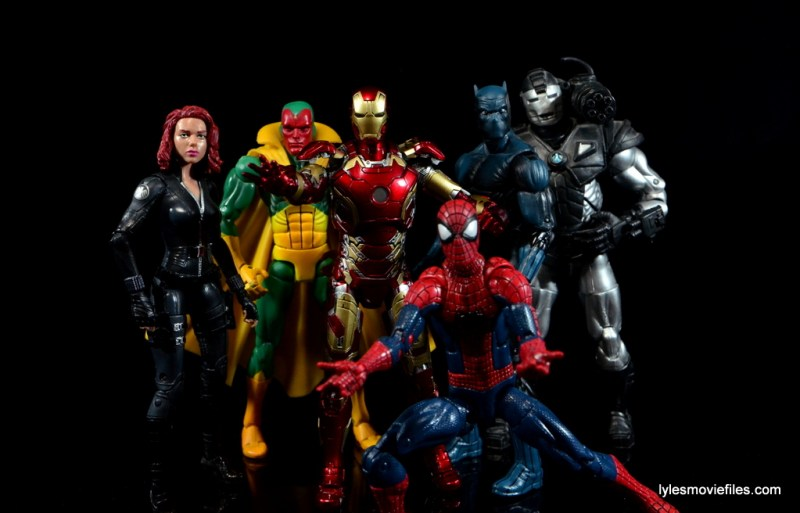 Iron Man Mark 43 Comicave Studios Omni Class Scale figure - Team Iron Man - Black Widow, Vision, War Machine, Black Panther and Spider-Man