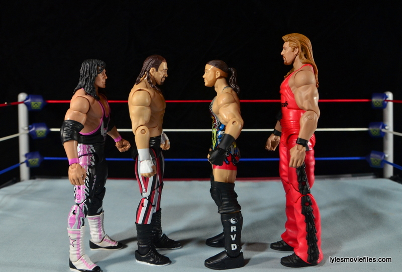 WWE Elite 41 Terry Funk figure review - scale shot with Bret Hart, RVD and Kevin Nash