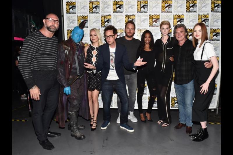 Guardians of the Galaxy vol. 2 cast - Dave Bautista, Michael Rooker, James Gunn, Chris Pratt, Zoe Saldana, Elizabeth Dibicki, Kurt Russell and Karen Gillam