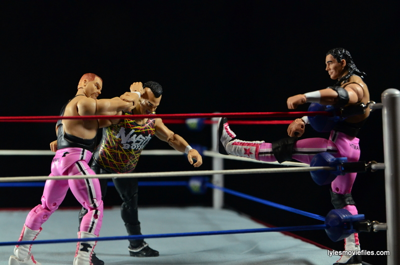 WWE Elite 43 Hart Foundation figures -giving a boot to Sags