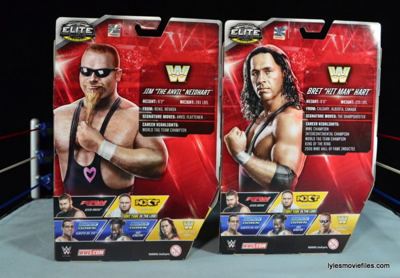 WWE Elite 43 Hart Foundation figures -rear package