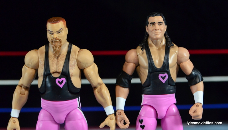 WWE Elite 43 Hart Foundation figures -wide pic of Bret Hart and Jim Neidhart