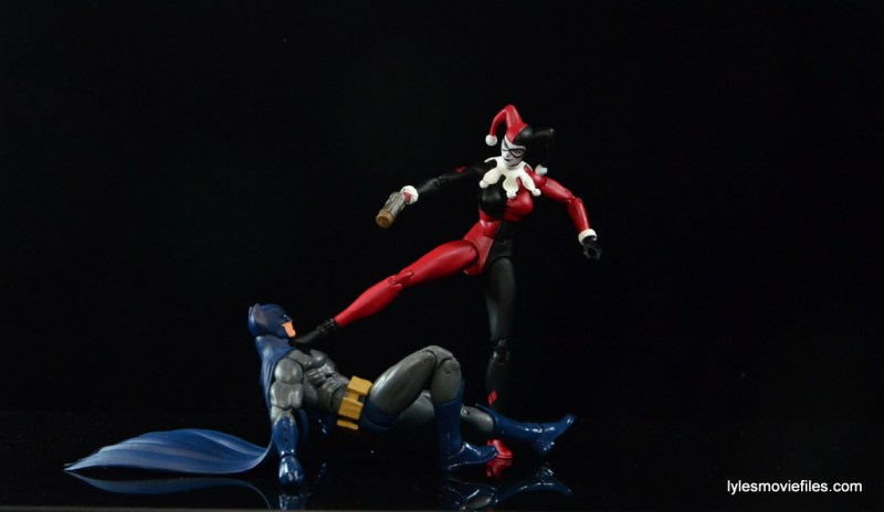 DC Icons Harley Quinn figure review -kicking Batman