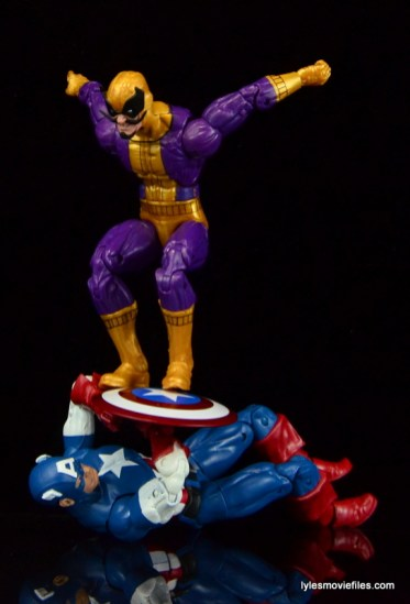 Marvel Legends Batroc figure review - leaping on Captain America