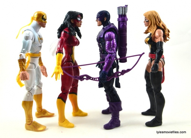Marvel Legends Spider-Woman figure review - scale with Iron Fist, Hawkeye and Ms. Marvel