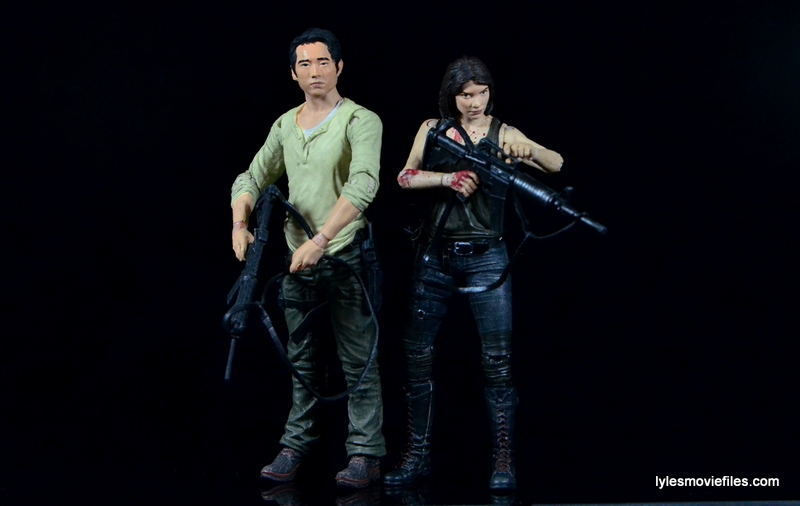 The Walking Dead Maggie Green figure McFarlane Toys -side to side with Glenn