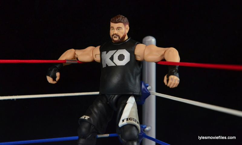 WWE Elite 43 Kevin Owens figure review - leaning in the corner