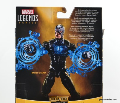Marvel Legends Havok figure review -package rear