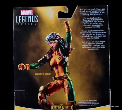 Marvel Legends Rogue figure review - package rear and bio