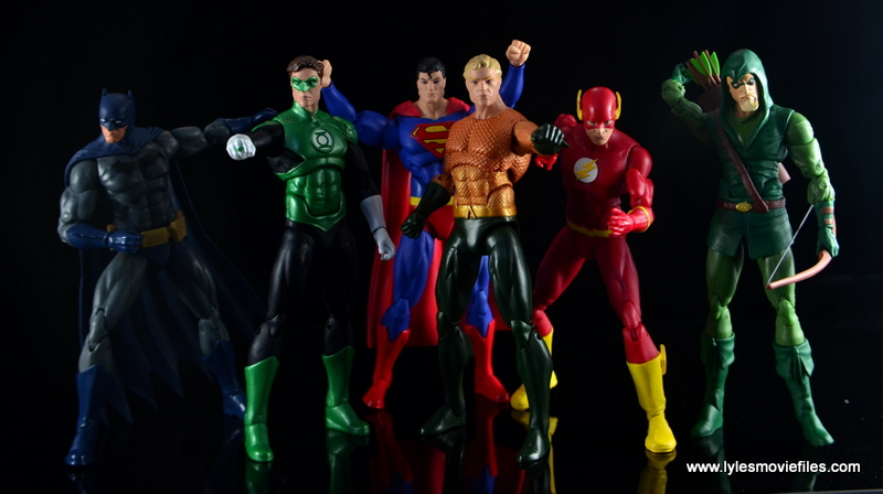 DC Icons Aquaman figure review - Justice League with Batman, Green Lantern, Superman, Flash and Green Arrow