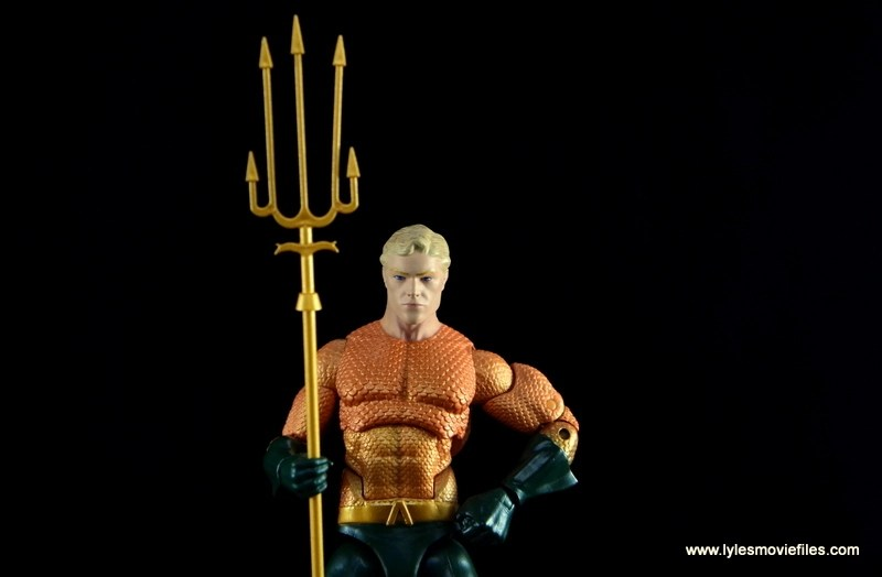 DC Icons Aquaman figure review - holding trident wide