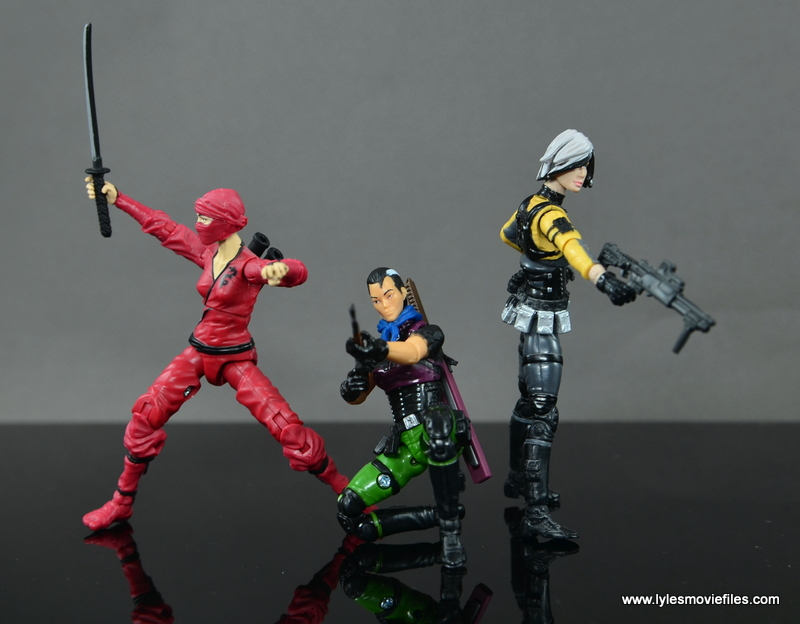 GI Joe Heavy Conflict Heavy Duty and Stiletto figure review - battle mode with Jinx and Helix