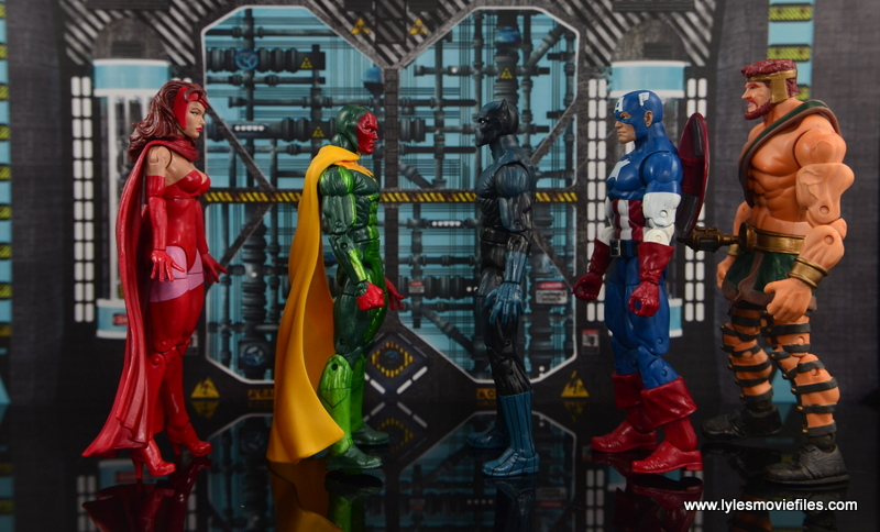 Marvel Legends Vision figure review - scale with Scarlet Witch, Black Panther, Captain America and Hercules