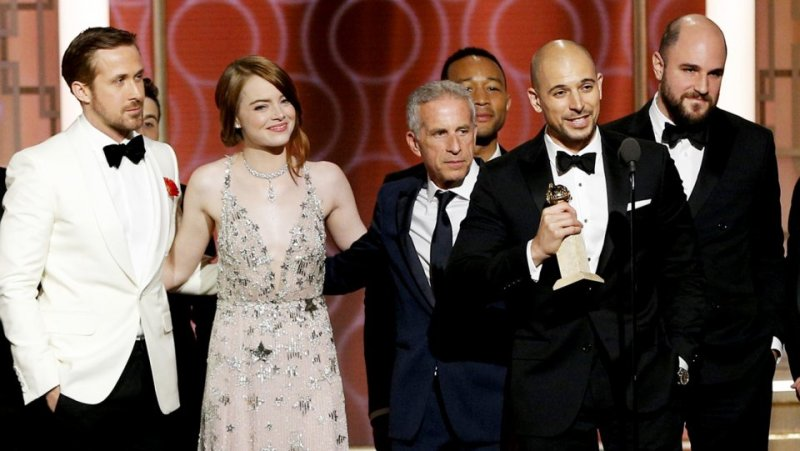 Golden Globes 2017 La La Land crew Ryan Gosling and Emma Stone