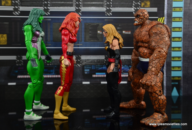Marvel Legends Thundra figure review - scale with She-Hulk, Warbird and The Thing