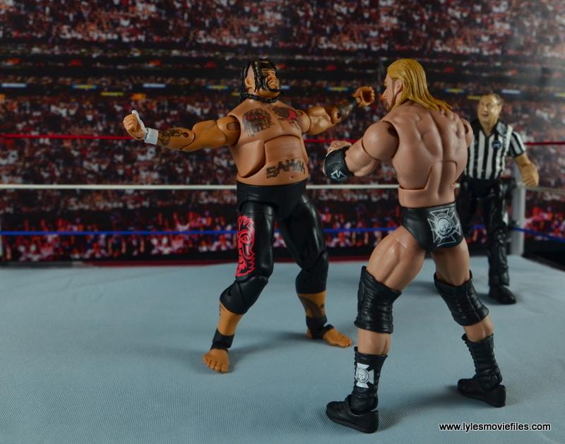 WWE Elite 40 Umaga figure review - face off against Triple H
