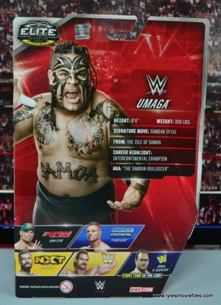 WWE Elite 40 Umaga figure review - package rear