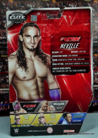 WWE Elite 42 Neville figure review - package rear