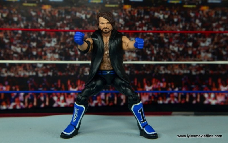 WWE Elite AJ Styles figure review - aiming crouched