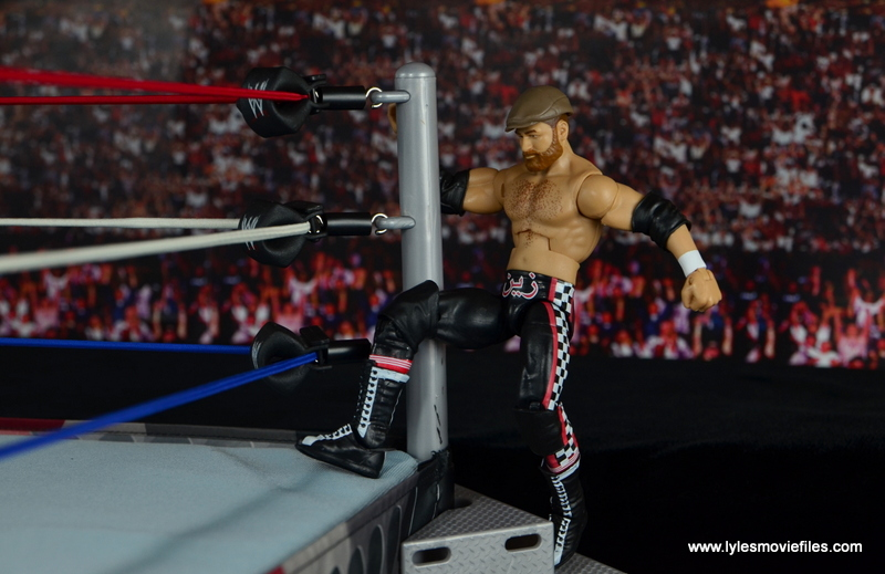 WWE Elite Sami Zayn figure review - climbing up the steps