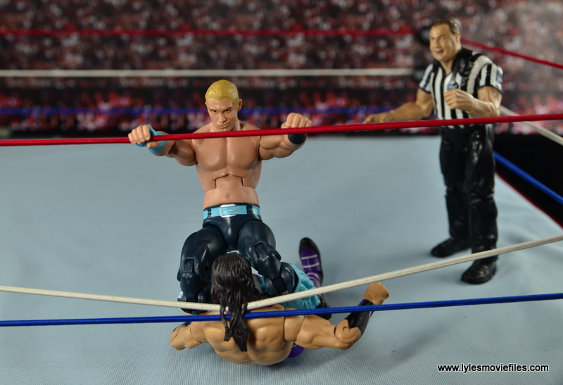 WWE Elite Tyler Breeze figure review -double knee smash to Neville