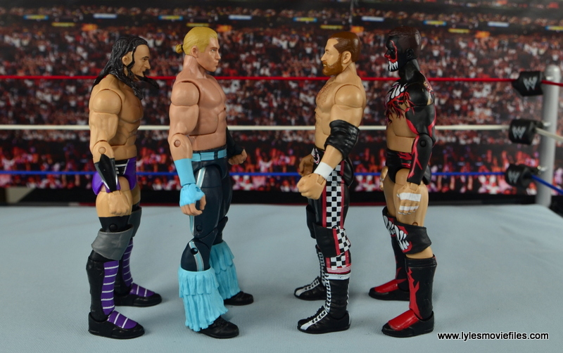 WWE Elite Tyler Breeze figure review - scale with Neville, Sami Zayn and Finn Balor