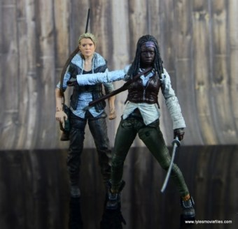 The Walking Dead Michonne figure review - holding Andrea back