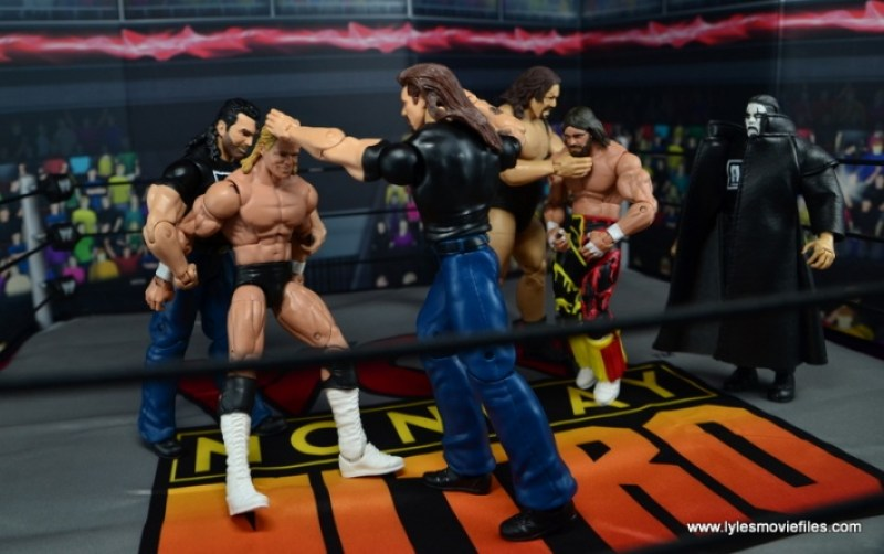 WWE Mattel The Outsiders Battle Pack figure review - nWo beating down Luger and Macho Man