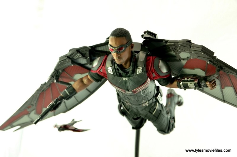 Hot Toys Captain America Civil War Falcon figure review -flying closeup with Redwing