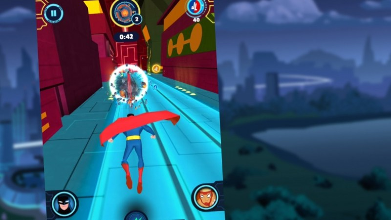 Justice League Action: Run Superman firing heat vision