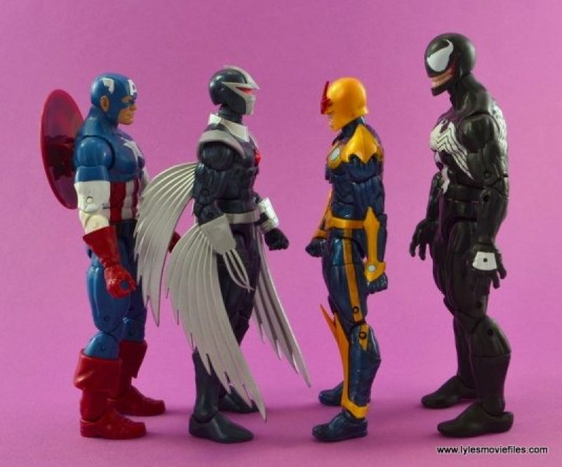 Marvel Legends Darkhawk figure review - scale with Captain America, Nova and Venom
